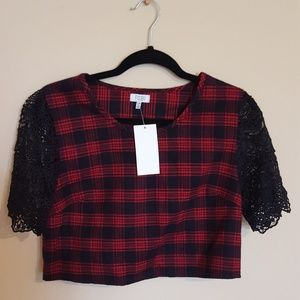Plaid and lace crop top